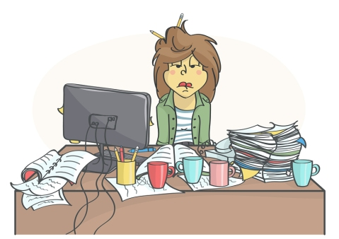 Cartoon of over-tasked woman looking at messy desk. Used by Carole Cudnik on home page.